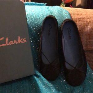 Beautiful black Clark's flats; worn several times